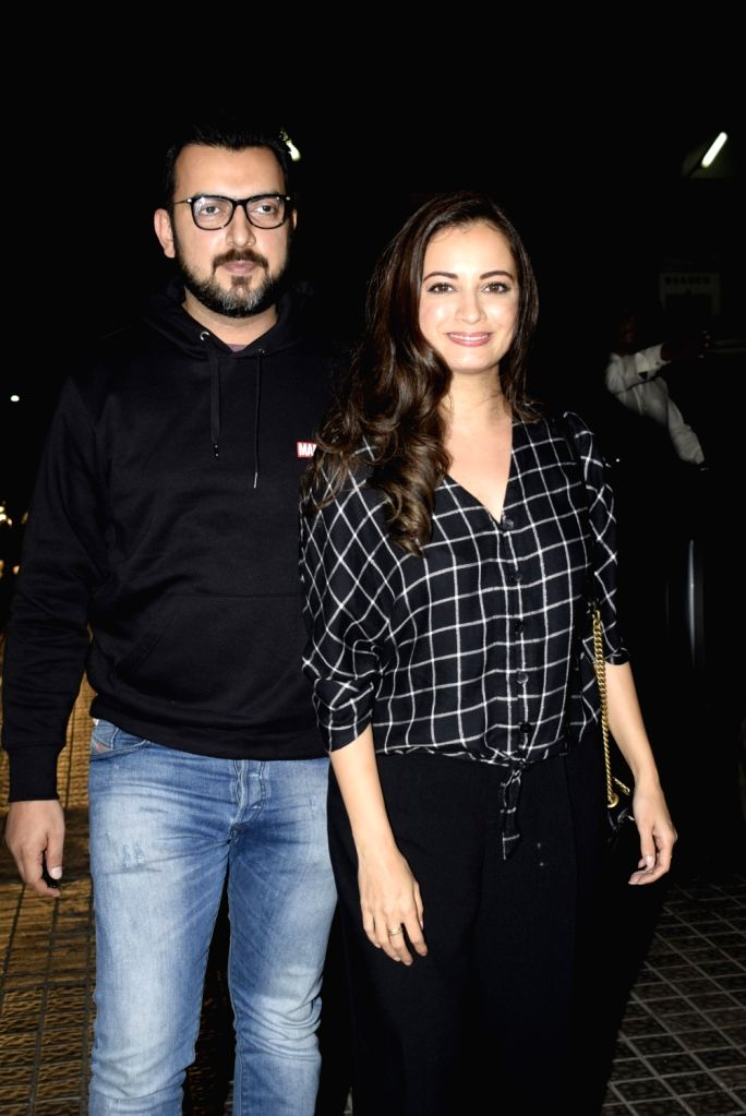 "Actress Dia Mirza with her husband Sahil Sangha at the special screening of upcoming film ""Gully Boy"" in Mumbai, on Feb 13, 2019. - Dia Mirza"