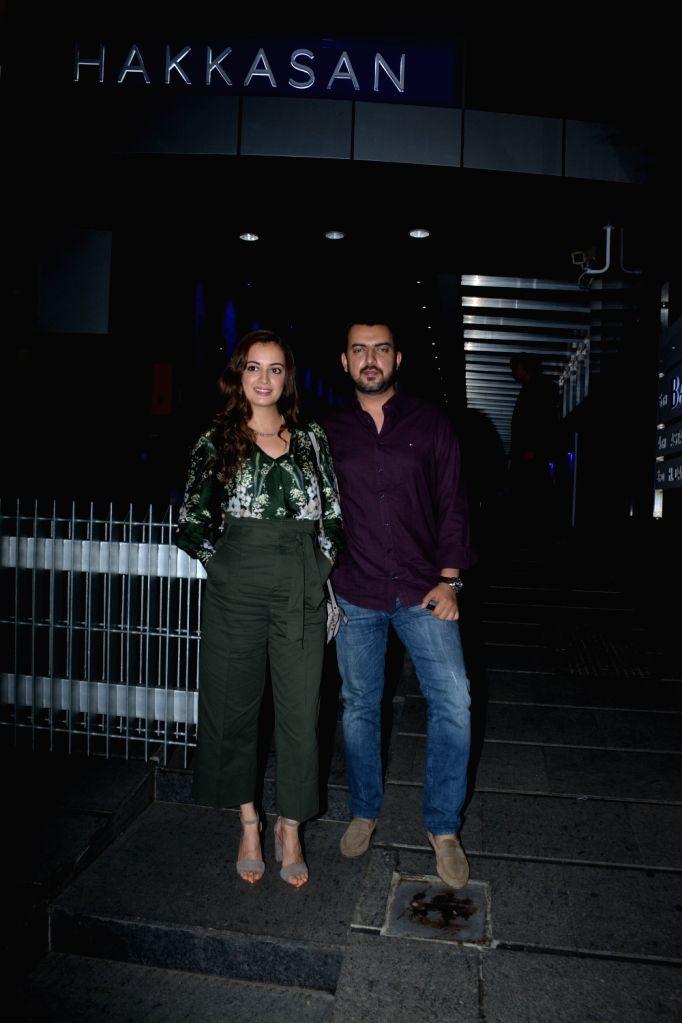 Actress Dia Mirza with husband Sahil Sangha seen at a Mumbai restaurant on Feb 20, 2019. - Dia Mirza