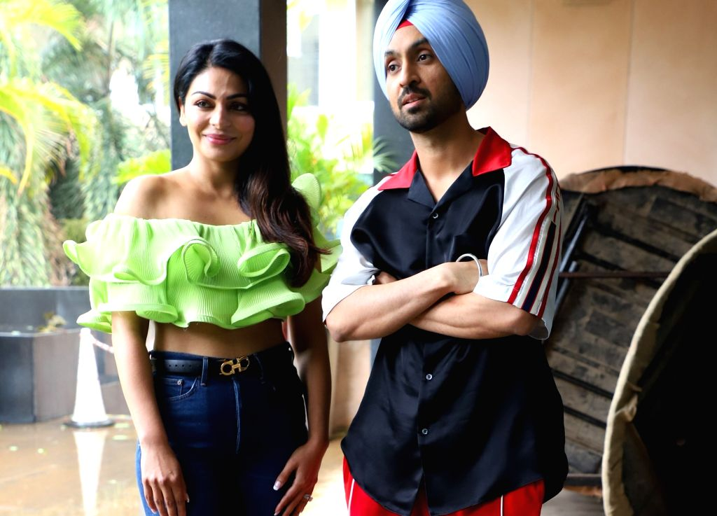 "Actress Diljit Dosanjh and Neeru Bajwa during the promotion of their upcoming film ""Shadaa"", in Mumbai on June 12, 2019. - Diljit Dosanjh"