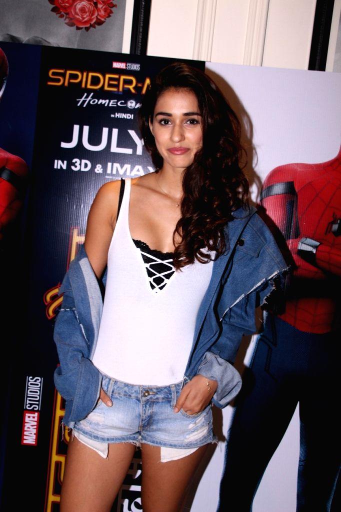 "Actress Disha Patani during a promotional programme of the film ""Spider-Man: Homecoming"" in Mumbai, on July 7, 2017. - Disha Patani"