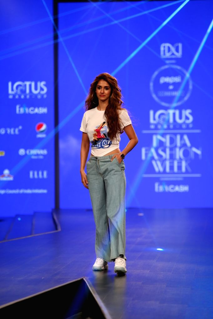 Actress Disha Patani walks the ramp showcasing for Pepsi X Huemn at Lotus India Fashion Week, Oct 9, 2019. - Disha Patani