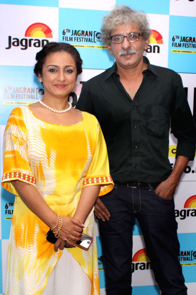 Actress Divya Dutta and director Sriram Raghavan at the Jagran Film Festival in New Delhi on July 5, 2015. - Divya Dutta