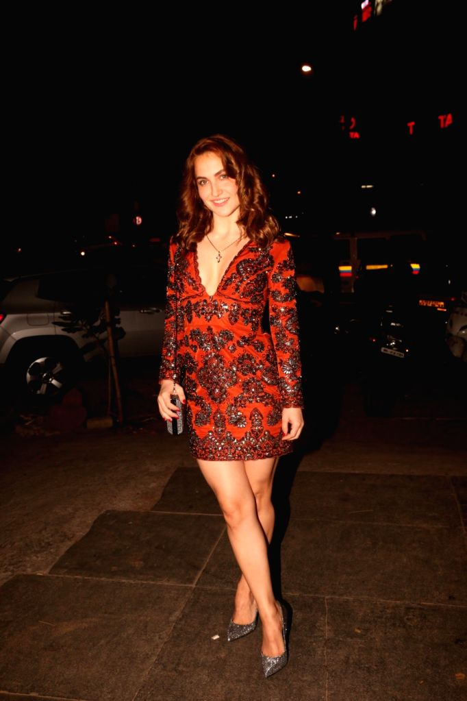Actress Elli Avram at actress Nora Fatehi's birthday bash in Mumbai's Bandra, on Feb 5, 2019. - Elli Avram