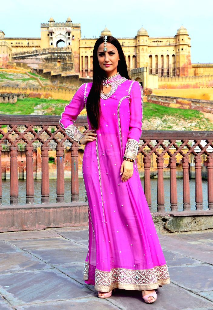 Actress Elli Avram during a photo shoot near Amber fort in Jaipur, on Aug 21, 2015.