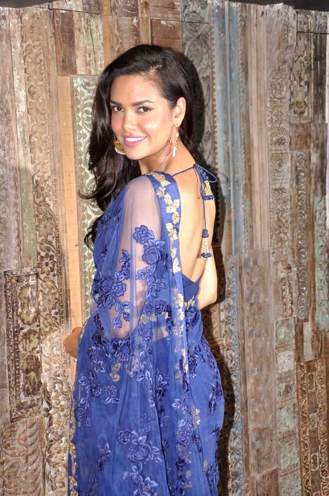 Actress Esha Gupta at designers Shyamal and Bhumika`s store during their new wedding line launch in Mumbai, on Aug 13, 2015.
