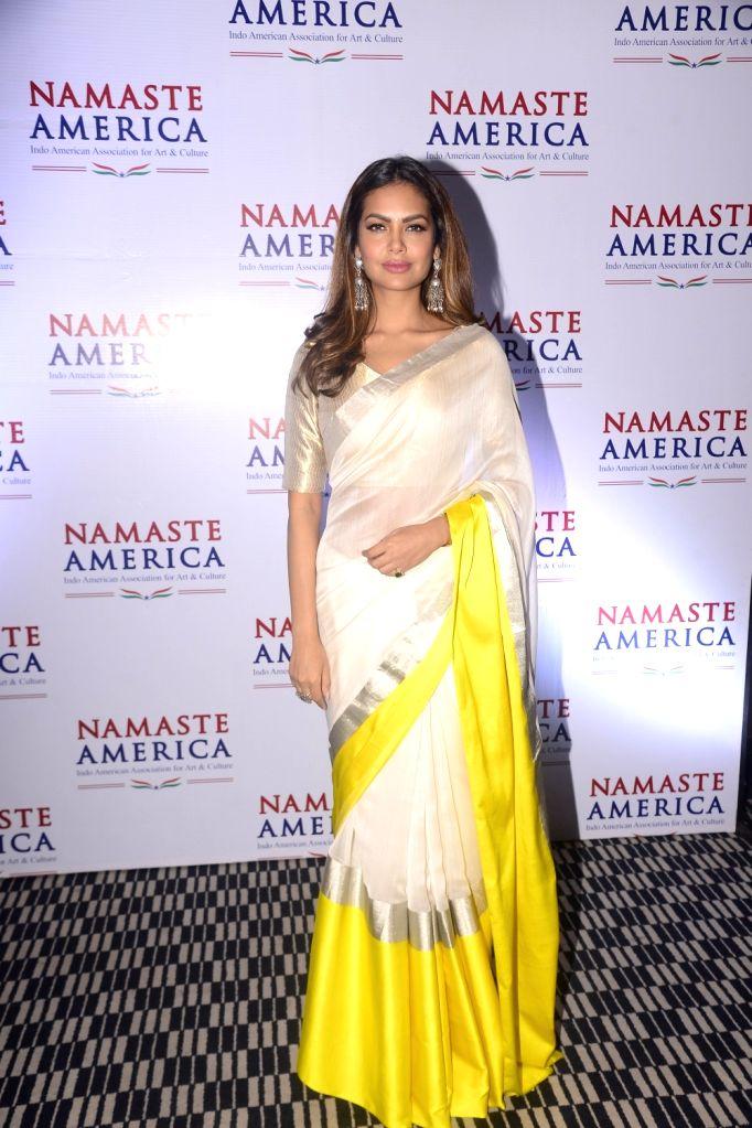 Actress Esha Gupta during a press conference of Namaste America in Mumbai on Nov 8, 2017. - Esha Gupta