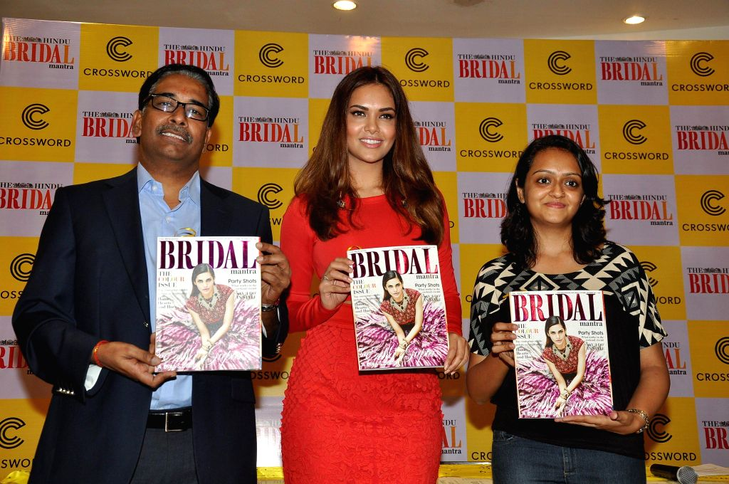 Actress Esha Gupta during the unveiling of the fifh edition of The Hindu Bridal Mantra magazine in Mumbai on Oct. 9, 2014.