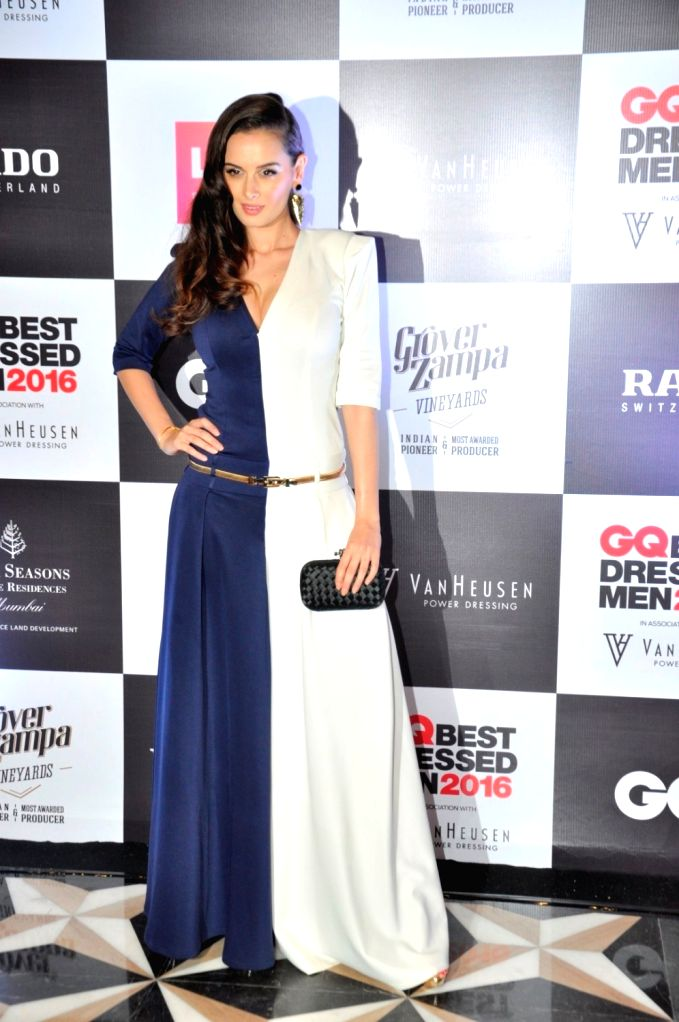 Actress Evelyn Sharma during GQ Best Dressed Men 2016 Awards, in Mumbai, on June 2, 2016. - Evelyn Sharma