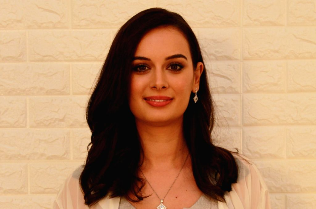 """Actress Evelyn Sharma during the promotion of her upcoming film """"Saaho"""" in Mumbai, on Aug 28, 2019. - Evelyn Sharma"""