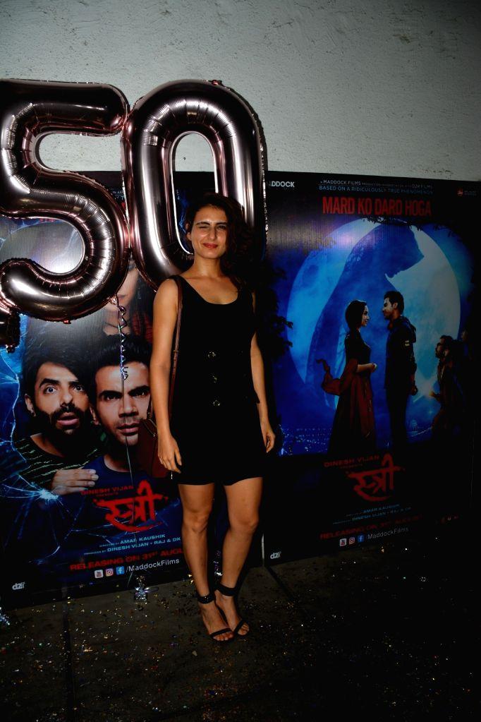 """Actress Fatima Sana Shaikh at success party of film """"Stree"""" in Mumbai on Sept 18, 2018. - Fatima Sana Shaikh"""