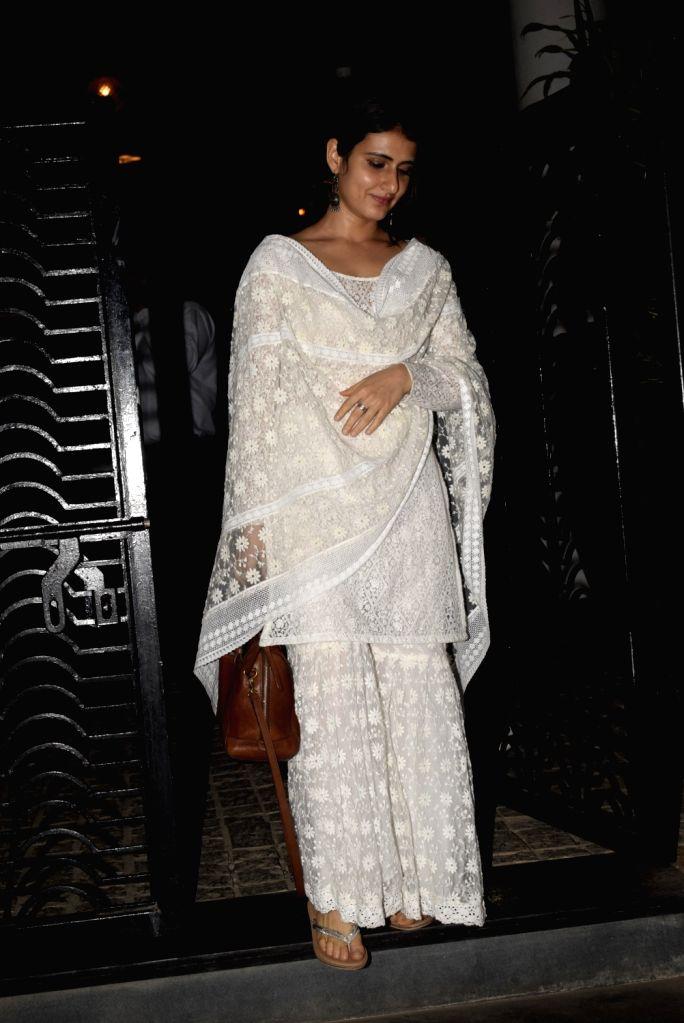 Actress Fatima Sana Shaikh seen outside a club in Mumbai's Bandra, on March 7, 2019. - Fatima Sana Shaikh
