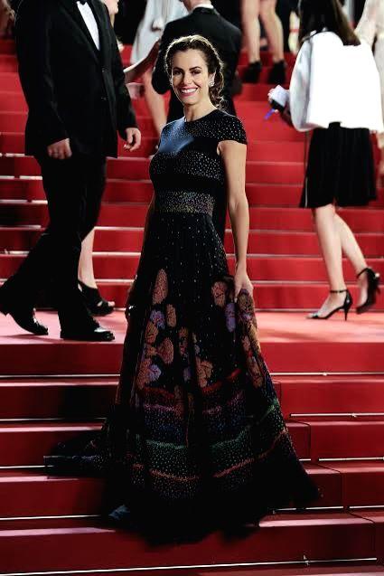 Actress Gabriela Dias in designer Rahul Mishra creation at Cannes red carpet - Gabriela Dias and Rahul Mishra