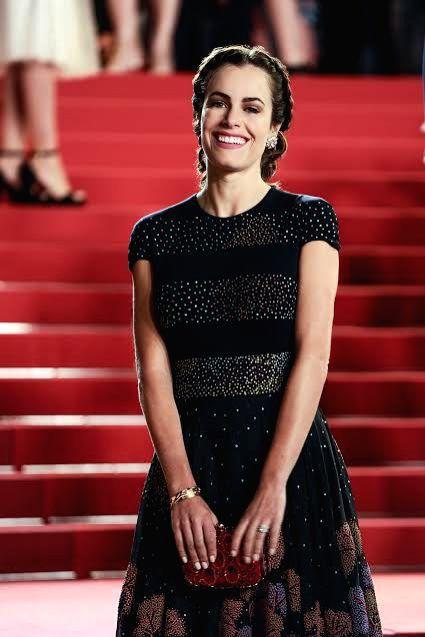 Actress Gabriela Dias in Rahul Mishra creation at Cannes red carpet. - Gabriela Dias and Rahul Mishra