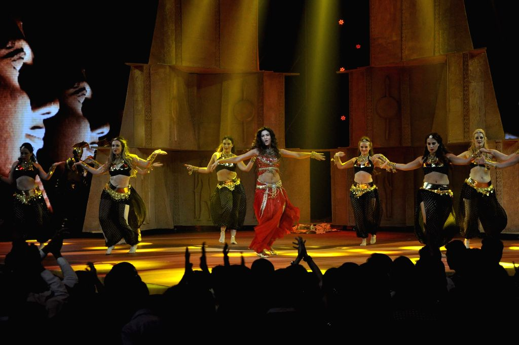 Actress Gauhar Khan performs during the Star Plus show singing competition series India`s Raw Star in Mumbai on Nov 28, 2014.