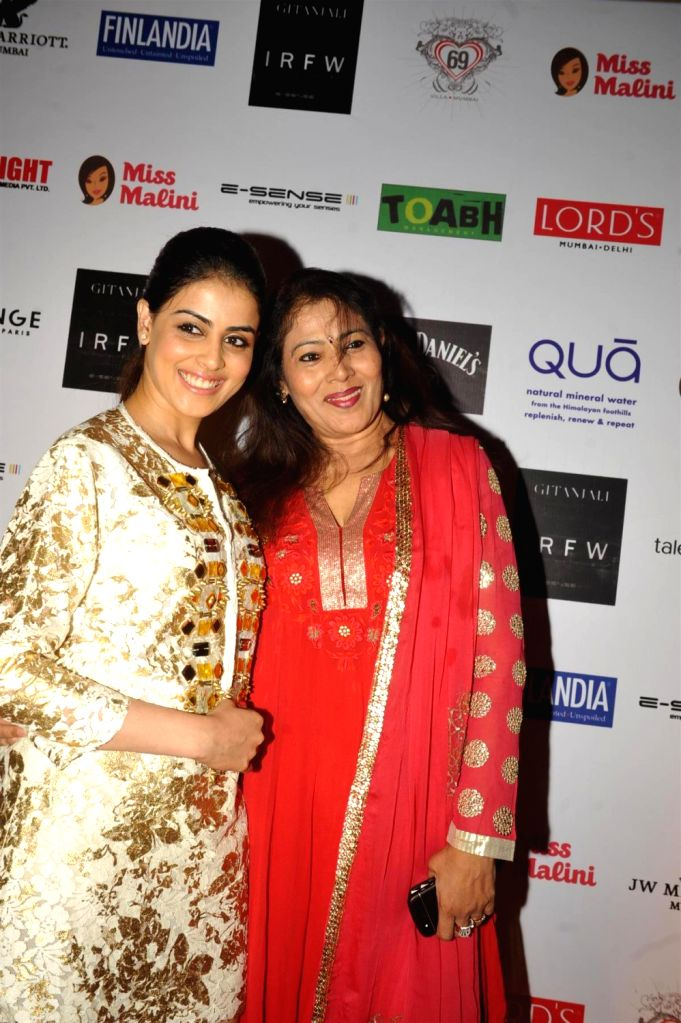 Actress Genelia D'Souza with her mother at the 3rd Edition of India Resortwear Fashion Week (IRFW) 2013 in Mumbai on December 13, 2013. - Genelia DSouza