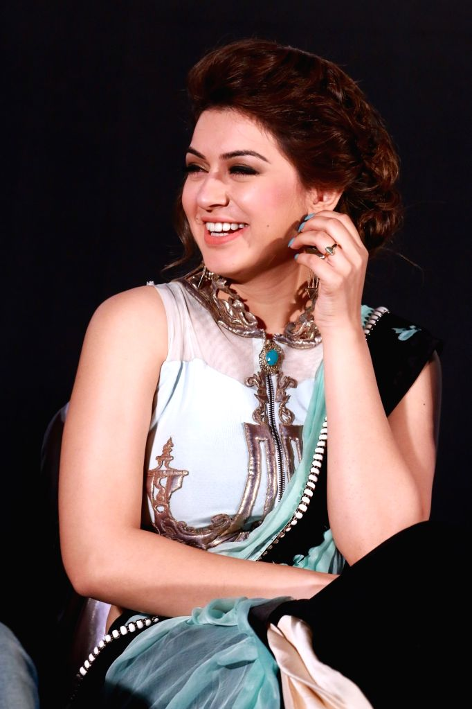 Actress Hansika Motwani during the trailer and audio launch of Telugu film `Uyire Uyire`. - Hansika Motwani