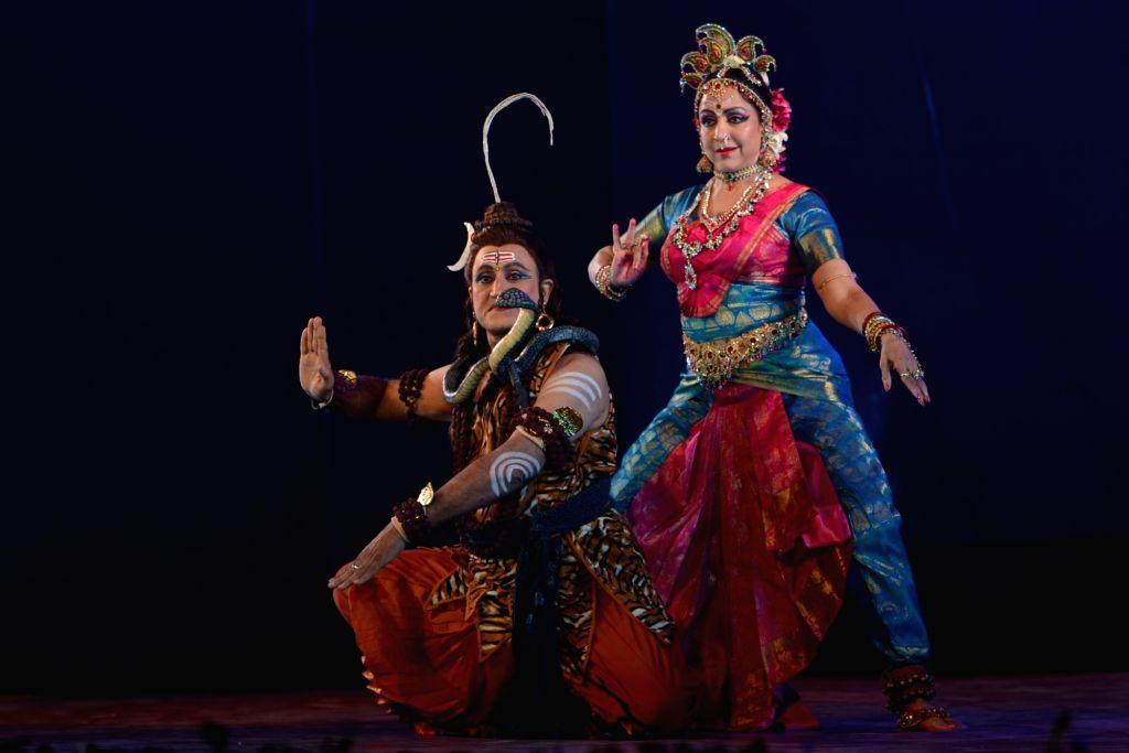 Actress Hema Malini performs a dance drama during 'Markandey Mahadev Utsav' in Varanasi, on Dec 22, 2018. - Hema Malini
