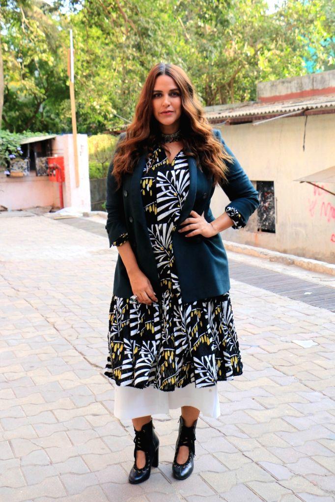 Actress-host Neha Dhupia on the sets of her chat show ???Vogue BFFs Season 3???, in Mumbai, on May 4, 2019. - Neha Dhupia