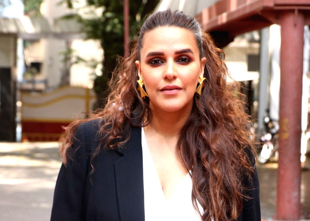"Actress-host Neha Dhupia on the sets of her show ""Vogue BFFs Season 3"" in Mumbai, on April 11, 2019. - Neha Dhupia"