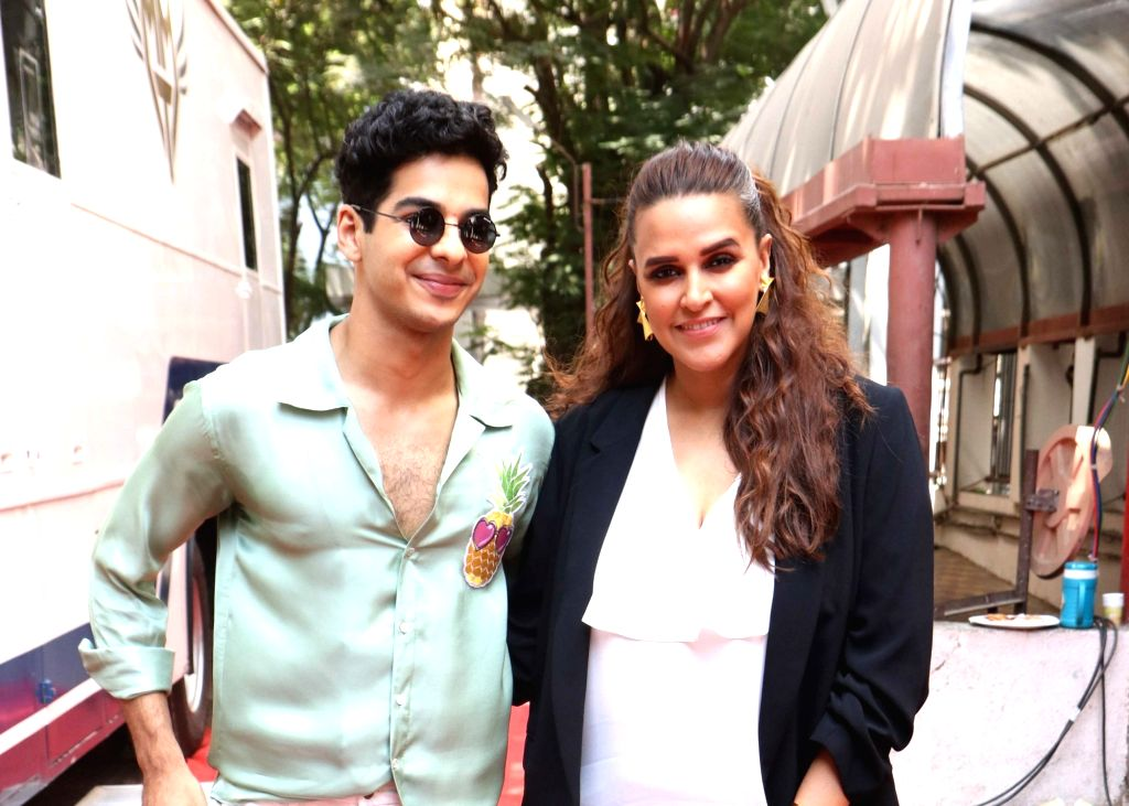 "Actress-host Neha Dhupia with actor Ishaan Khattar on the sets of her show ""Vogue BFFs Season 3"" in Mumbai, on April 11, 2019. - Ishaan Khattar and Neha Dhupia"
