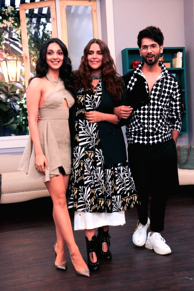 """Actress-host Neha Dhupia with upcoming film """"Kabir Singh's"""" starrers Shahid Kapoor and Kiara Advani on the sets of her chat show ???Vogue BFFs Season 3???, in Mumbai, on May 4, 2019. - Neha Dhupia, Kabir Singh, Shahid Kapoor and Kiara Advani"""