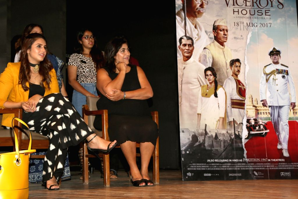 "Actress Huma Qureshi and filmmaker Gurinder Chadha during a programme organised to promote ""Partition: 1947"" at Gargi College in New Delhi, on Aug 10, 2017. - Huma Qureshi"