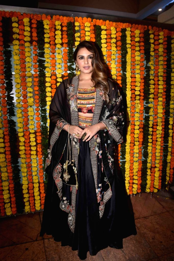 Actress Huma Qureshi at the Diwali bash party of producer Ekta Kapoor in Mumbai on Oct 26, 2019. - Huma Qureshi and Ekta Kapoor