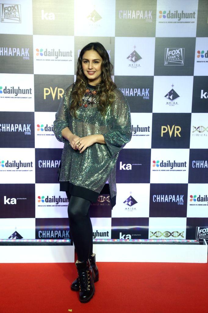 "Actress Huma Qureshi at the screening of the film ""Chhapaak"" in Mumbai on Jan 8, 2020. - Huma Qureshi"