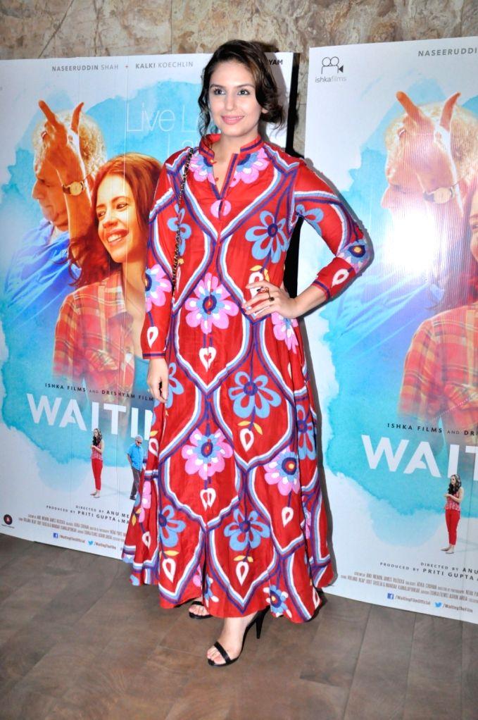 Actress Huma Qureshi during the screening of film Waiting, in Mumbai, on May 27, 2016. - Huma Qureshi