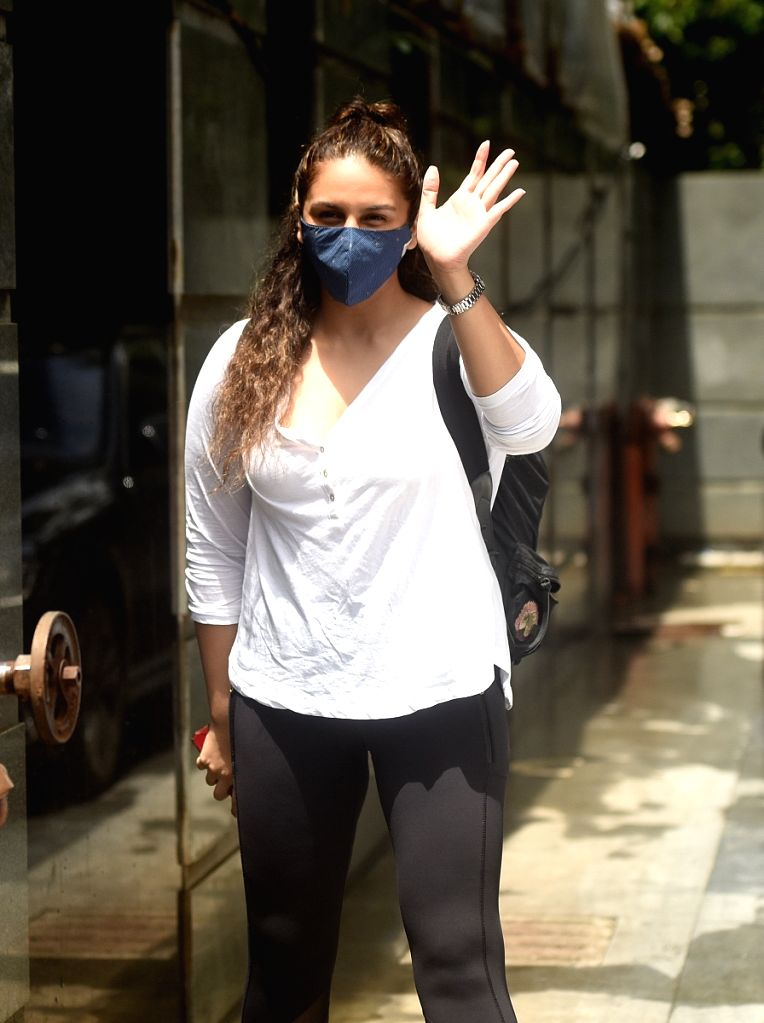 Actress Huma Qureshi spotted at Pooja films office in Mumbai's Juhu on July 30, 2020. - Huma Qureshi