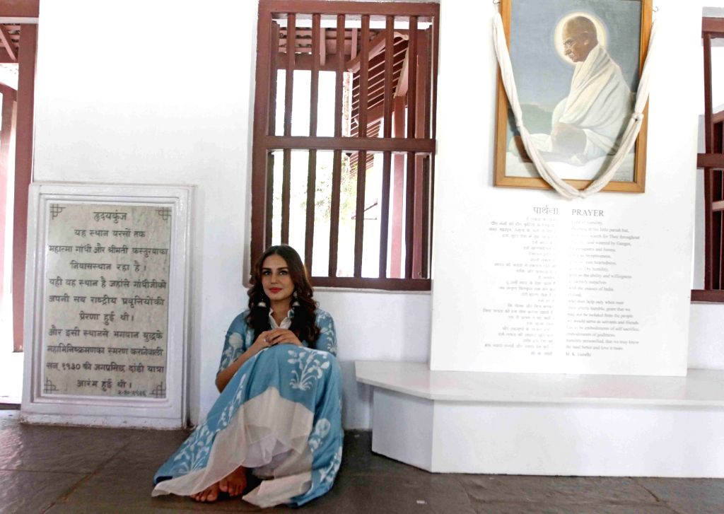 "Actress Huma Qureshi visits Sabarmati Ashram to promote her upcoming film ""Partition 1947"" in Ahmedabad on Aug 16, 2017. - Huma Qureshi"