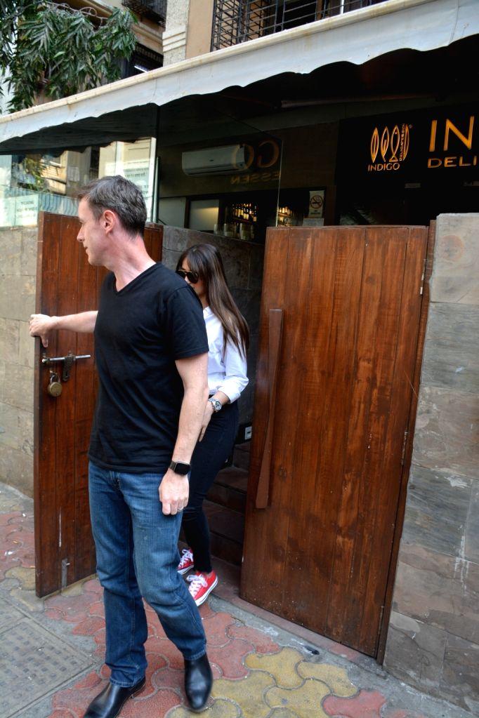 Actress Ileana D'Cruz and her husband Andrew Kneebone seen at Bandra, Mumbai on March 13, 2019. - Ileana D'Cruz