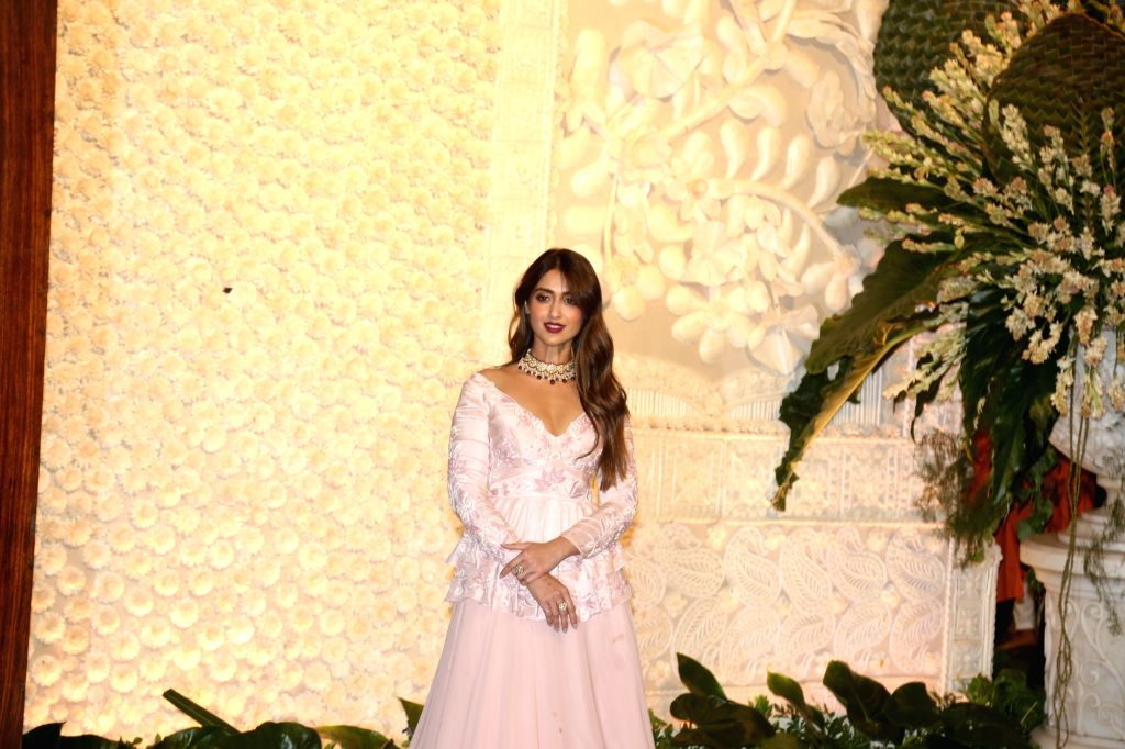 Actress Ileana D'Cruz at the Ganesh Chaturthi celebrations organised at Reliance Industries Ltd. Chairman Mukesh Ambani's residence in Mumbai on Sep 2, 2019. - Ileana D'Cruz and Mukesh Ambani