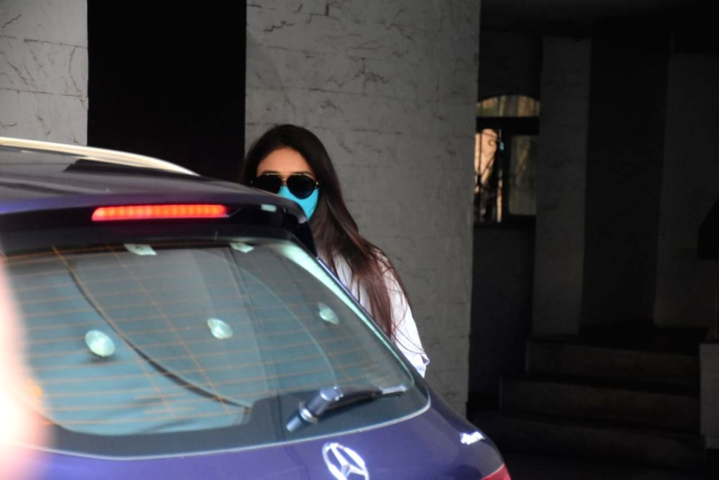 Actress Ileana D'cruz seen at a Bandra clinic in Mumbai on Oct 15, 2020. - Ileana D