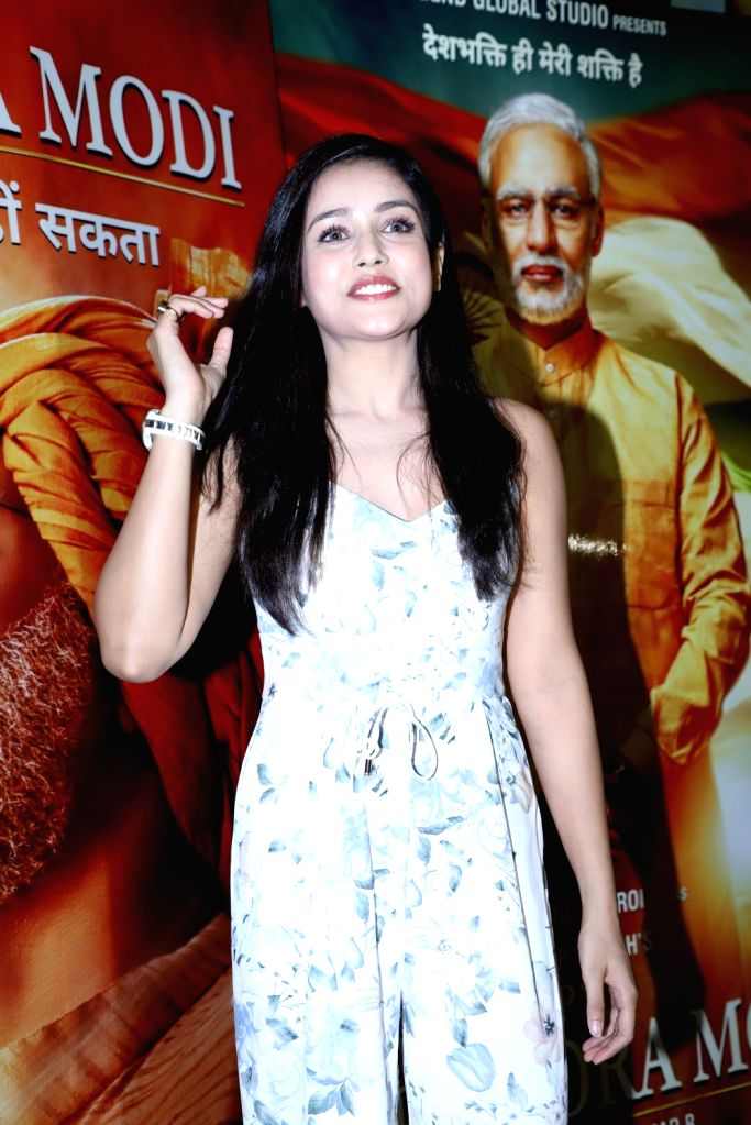 "Actress Indrani Chakraborty at the screening of the upcoming film ""PM Narendra Modi"" in Mumbai on May 23, 2019. - Indrani Chakraborty and Narendra Modi"