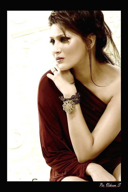 Actress Inyatt poses for a photograph during a photoshoot.
