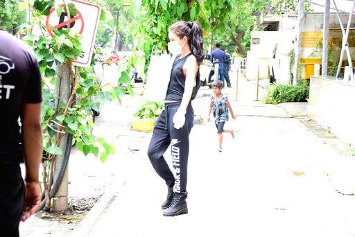 Actress Isabelle Kaif seen at Khar in Mumbai on July 9, 2020. - Isabelle Kaif