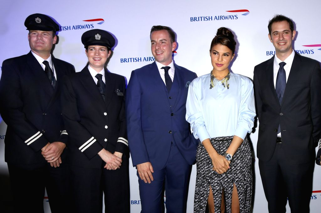 Actress Jacqueline Fernandez at the launch of British Airways frist 787-9 flight to New Delhi in Indian style,in New Delhi on Oct 26,2015. - Jacqueline Fernandez