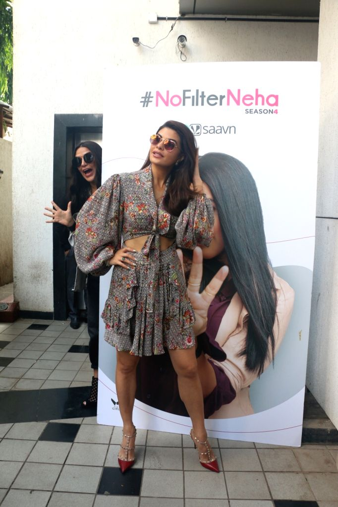 "Actress Jacqueline Fernandez on the sets of actress Neha Dhupia's chat show ""#NoFilterNeha"" in Mumbai on Nov 11, 2019. - Jacqueline Fernandez"