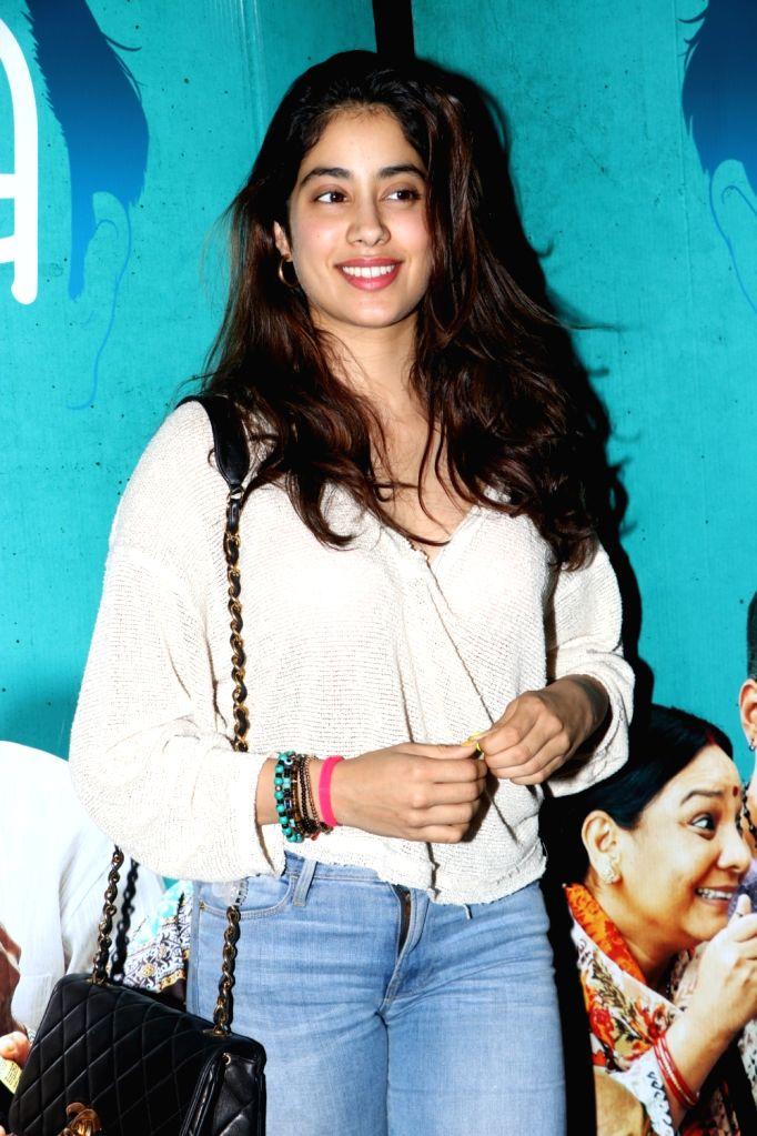 "Actress Janhvi Kapoor at the special screening of the film ""Bala"" in Mumbai on Nov 6, 2019. - Janhvi Kapoor"