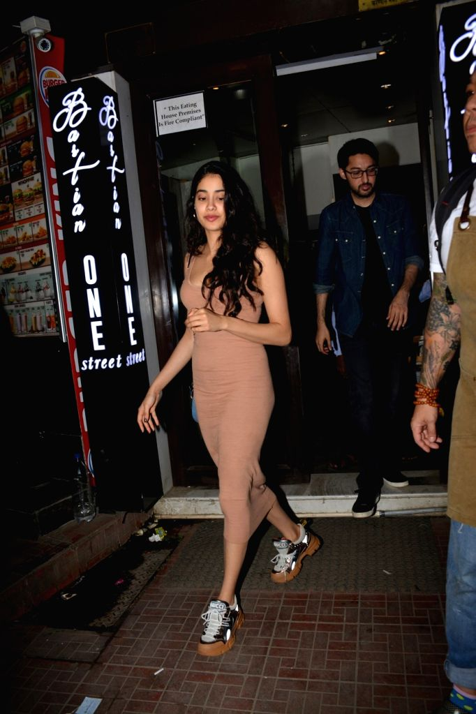 Actress Janhvi Kapoor during Ishaan Khattar's birthday celebration in Mumbai on Oct 31, 2018. - Janhvi Kapoor and Ishaan Khattar