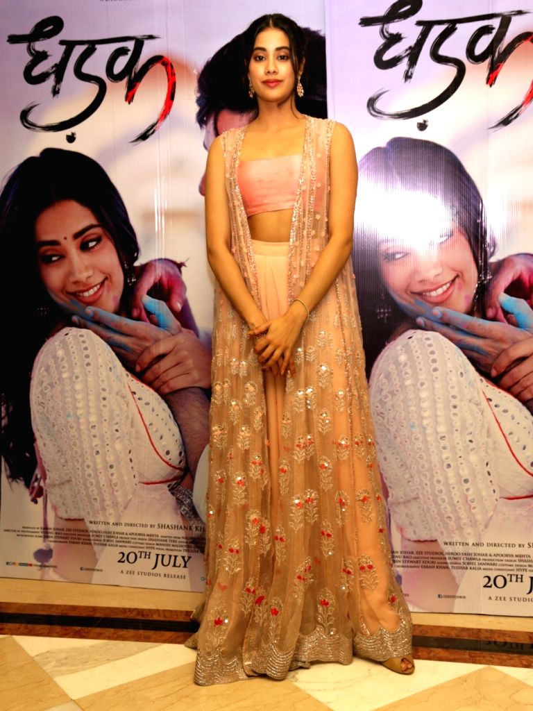 """Actress Janhvi Kapoor during the promotions of her upcoming film """"Dhadak"""", in New Delhi on July 18, 2018. - Janhvi Kapoor"""