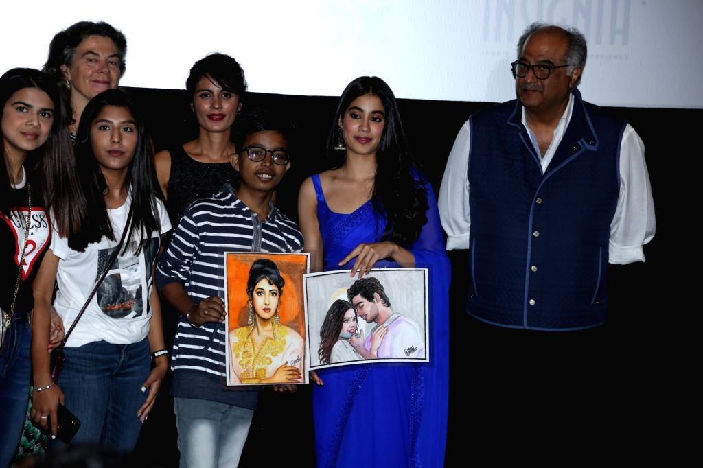 "Actress Janhvi Kapoor, her father producer Boney Kapoor , Iram Haq, a Norwegian filmmaker of Pakistani descent and others during a programme where Janhvi was presented ""Arts ... - Janhvi Kapoor"