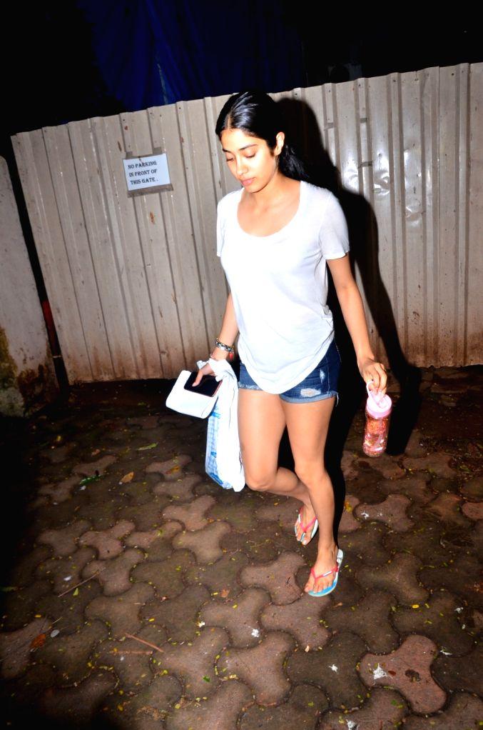 Actress Janhvi Kapoor seen at Mumbai's Versova, on Aug 15, 2019. - Janhvi Kapoor