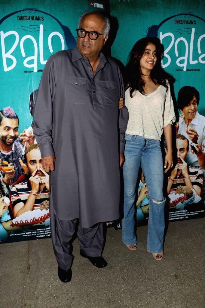 "Actress Janhvi Kapoor with her father Boney Kapoor at the special screening of the film ""Bala"" in Mumbai on Nov 6, 2019. - Janhvi Kapoor"
