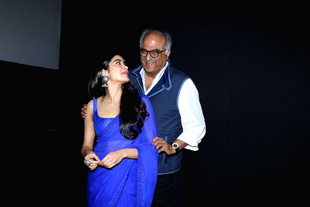 "Actress Janhvi Kapoor with her father, producer Boney Kapoor during a programme where she was presented ""Arts Stjerneskudd"" (Shooting Star of the Year) award by the Royal Norwegian ... - Janhvi Kapoor"
