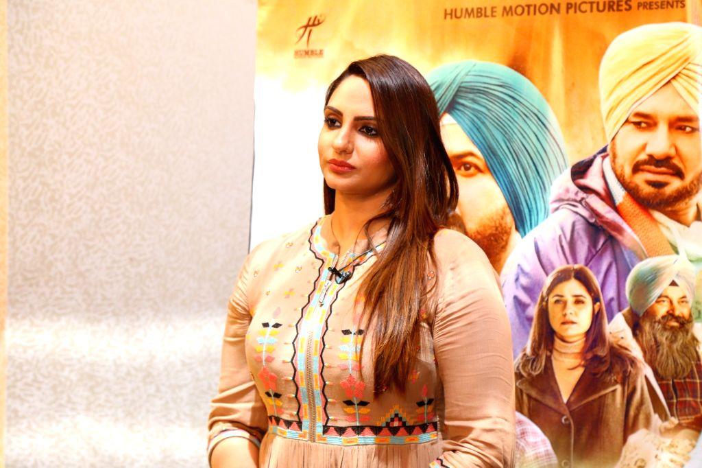 """Actress Japji Khaira during the promotion of her upcoming Punjabi film """"Ardaas Karaan"""" in New Delhi, on July 17, 2019. - Japji Khaira"""