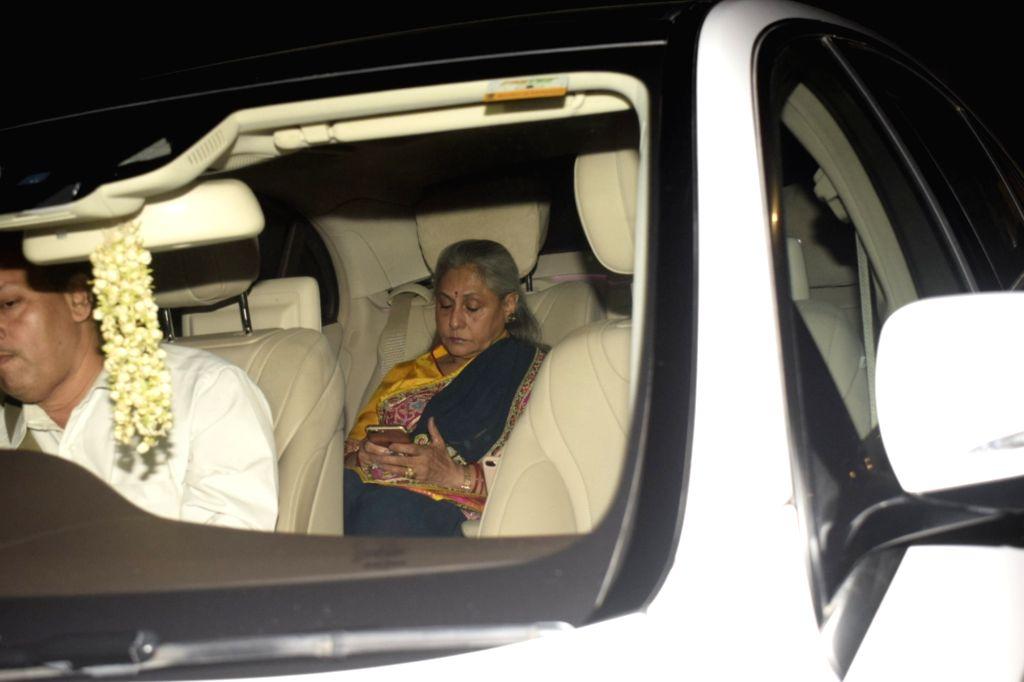 Actress Jaya Bachchan attend the diwali party hosted by designer duo, Abu Jani- Sandeep Khosla in Mumbai on Nov 2, 2018. - Jaya Bachchan