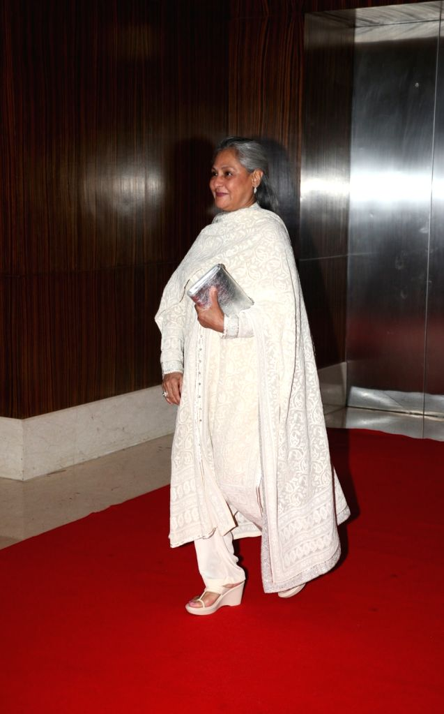 Actress Jaya Bachchan during the birthday celebration of Sachin Pilgaonkar in Mumbai on Aug 17, 2017. - Jaya Bachchan