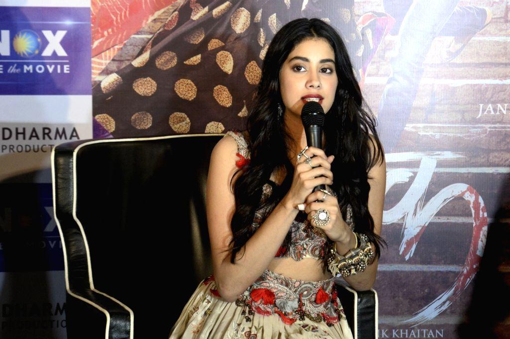 "Actress Jhanvi Kapoor during promotions of their upcoming film ""Dhadak"", in Kolkata, on July 13, 2018. - Jhanvi Kapoor"